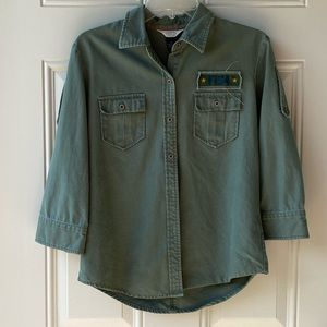 Fossil olive green, 3/4 sleeve button down shirt